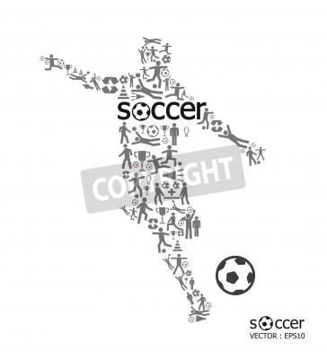 Plakat Elementy są małe ikony sportowych sprawiają aktywny piłkarz w kształcie piłki nożnej tekstu z ilustracji wektorowych koncepcji