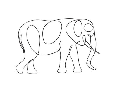 Plakat elephant Continuous line drawing