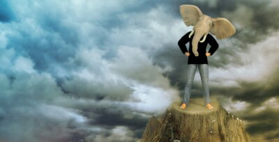 Plakat Elephant Man na szczycie góry