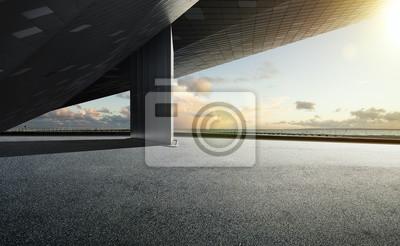 Plakat Empty floor ground with modern building rooftop