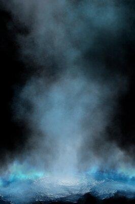 Plakat Empty futuristic dramatic scene. Abstract dark landscape, street. Neon light fluid element. Night view, neon blue light. Fantasy background. 3D illustration