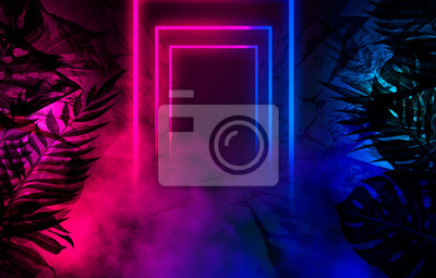 Plakat Empty scene background, abstract background with multicolored bokeh and neon lights. Silhouettes of tropical leaves