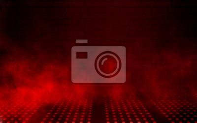 Plakat Empty scene background. Dark background of empty room, neon red light, concrete floor, smoke