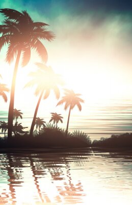 Plakat Empty tropical background of night sea beach. Silhouettes of tropical palm trees on a background of bright sunset. 3d illustration