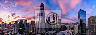 Plakat Epic panorama of a pink and blue sunset over San Francisco skyline with Salesforce Tower in the center and the bay bridge on the right