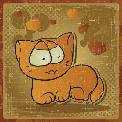 Plakat EPS 8 rocznika tle z kotem wektorowych.