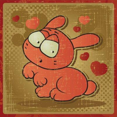 Plakat EPS 8 rocznika tle z królika wektor.