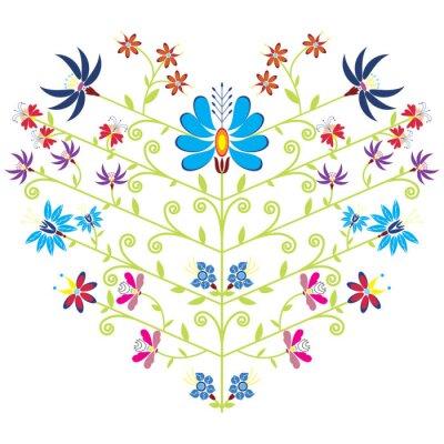 Plakat Ethnic folk floral pattern in heart shape on white background