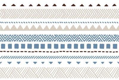 Plakat Ethnic vector seamless pattern. Tribal geometric background, boho motif, maya, aztec ornament illustration. mexican textile print texture