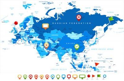Plakat Eurazja Europa Rosja Chiny Indonezja Indonezja Mapa - ilustracja wektorowa