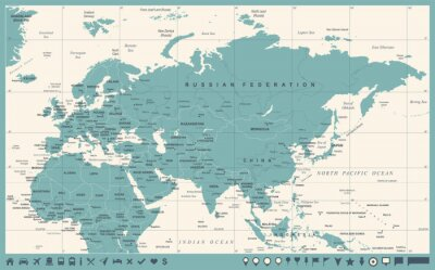 Plakat Eurazja Europa Rosja Chiny Indonezja Tajlandia Afryka Mapa - ilustracja wektorowa