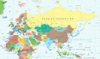 Plakat Eurazja Europa Rosja Chiny Indonezja Tajlandia Afryka Mapa