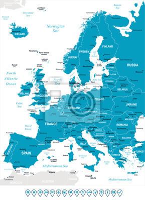 Plakat Europa - mapa i nawigacji etykiety - illustration.Image zawiera kolejne warstwy: kontury ziemi, nazwy krajów i gruntów, nazwy miast, nazw obiektów, ikon nawigacyjnych wody.