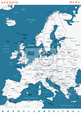 Plakat Europa - mapa i nawigacji etykiety - illustration.Image zawiera kolejne warstwy: kontury ziemi, nazwy krajów i krajów, nazwy miast, nazw obiektów, ikon nawigacyjnych wody.