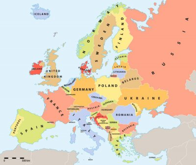 Plakat Europa mapa polityczna 2015 z etykietami i skali mapy.