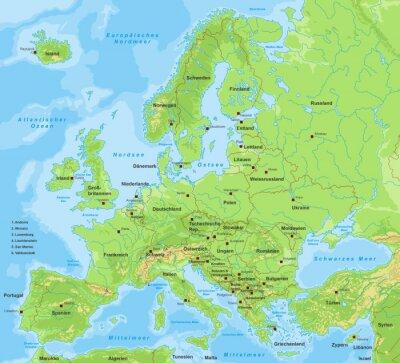 Plakat Europakarte - z napisem (kraje i miasta)