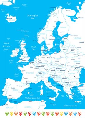 Europe - map, navigation icons - illustration.Image contains next layers: land contours,country and land names, city names, water object names, navigation icons.