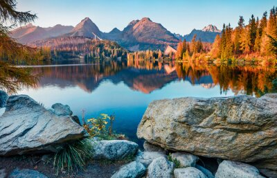 Plakat Exciting autumn view of Strbske pleso lake. Gorgeous evening scene of High Tatras National Park, Slovakia, Europe. Beauty of nature concept background.