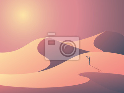Plakat Explorer w wydmy na pustyni. Krajobraz ilustracji wektorowych z zewnątrz człowieka. Symbol Biznes wizji, celów i ambicji.