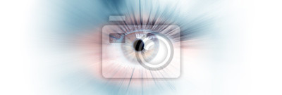 Plakat Eye of a woman. Eye in motion. Wide banner with a white background.