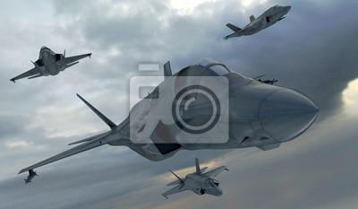 Plakat F 35, american wojskowego myśliwca plane.Jet samolot. Latać w chmurach