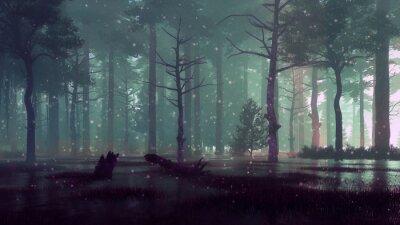 Plakat Fairy firefly lights on forest swamp at dark night