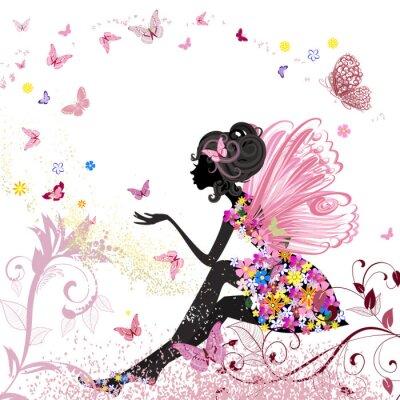 Plakat Fairy Flower w otoczeniu motyli