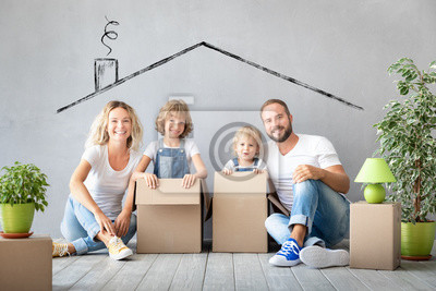Plakat Family New Home Moving Day House Concept