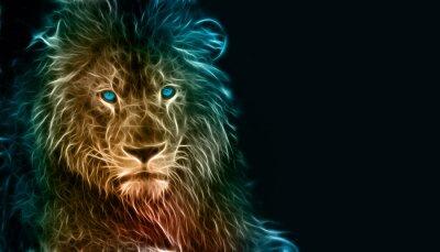 Plakat Fantasy sztuki cyfrowej lwa