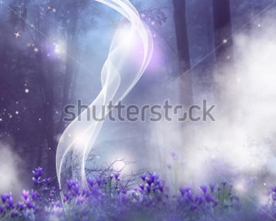 Plakat Fantasy tło z fioletowymi kwiatami i magicznymi efektami.