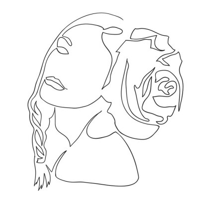 Plakat Fashion illustration of girl. Lline drawing of female face and hairstyle, minimalism, woman beauty, vector illustration for t-shirt design, print graphics style. Abstract women's portraits, profile.