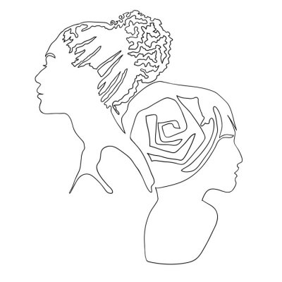 Plakat Fashion illustration of two girls. Continuous line drawing of female faces and hairstyle, minimalism, woman beauty, vector illustration for t-shirt design, print graphics style
