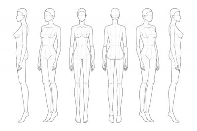 Plakat Fashion template 9 head for technical drawing with main lines.