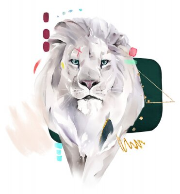 Plakat fashion watercolor illustration. Drawing - lion with abstract geometric shapes. Gold and green. isolated on white background
