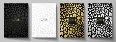Plakat Fashionable abstract cover design set. Luxury black, gold, silver background with leopard pattern (animal print). Premium vector collection for brochure, notebook template, menu