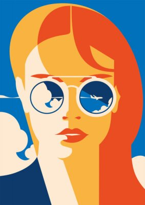 Plakat Fasonuje portret wzorcowa dziewczyna z okularami przeciwsłonecznymi. Plakat na czas podróży i wakacji.