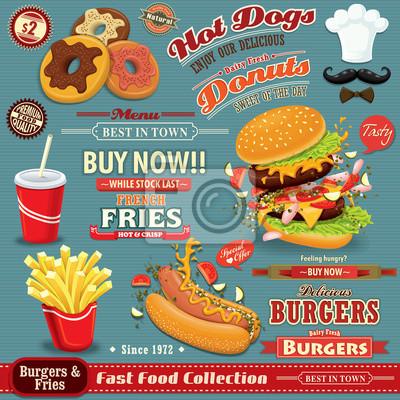 Fast food zestaw rocznika projekt plakatu