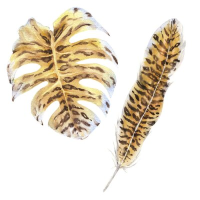 Plakat Feathers And Leaves Wild Animals Watercolor Set. Tiger Skin