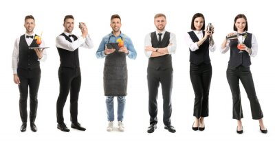 Plakat Female and male bartenders on white background