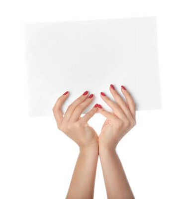 Plakat Female hands with empty sheet of paper on white background
