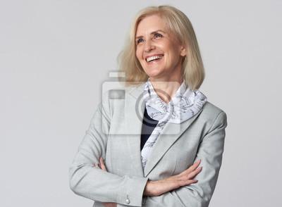 Plakat Female manager isolated on grey background