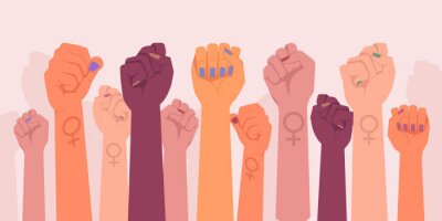Plakat Feminism fists, protest and revolution, feminists fight, vector cartoon flat hands. Feminism activists fist symbol of strength, equality and riot, woman rights union, female power and solidarity