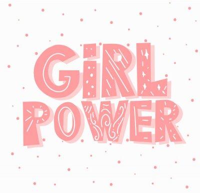 Plakat feministyczne ręcznie rysowane ilustracji wektorowych z cytatem - moc dziewczyny