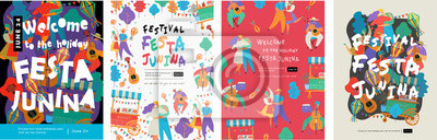 Plakat Festa Junina, Vector illustrations for poster, abstract banner, background or card for the brazilian holiday, festival, party and event, drawings of dancing cheerful people, musicians and shops