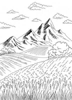 Plakat Field graphic black white landscape vertical sketch illustration vector