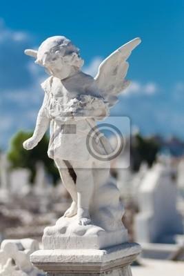 Plakat Figura anioła na cmentarzu Child
