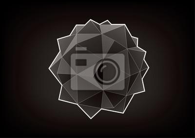 Figura związku dodecahedron-lukwas. Element graficzny do projektowania na czarnym tle