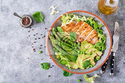 Filet z kurczaka gotowany na grillu z dodatkiem szparagów i grillowanego avokado. Dietetyczne menu. Zdrowe jedzenie. Płaskie leżało. Widok z góry