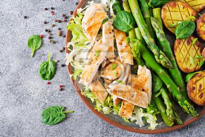 Filet z kurczaka gotowany na grillu z dodatkiem szparagów i pieczonych ziemniaków. Dietetyczne menu. Zdrowe jedzenie. Płaskie leżało. Widok z góry