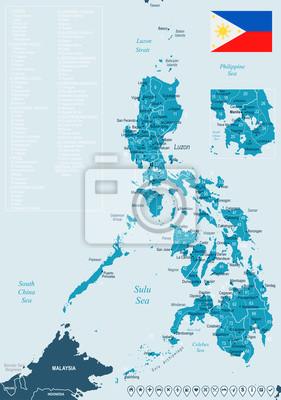 Plakat Filipiny - mapa i flaga - szczegółowe ilustracji wektorowych